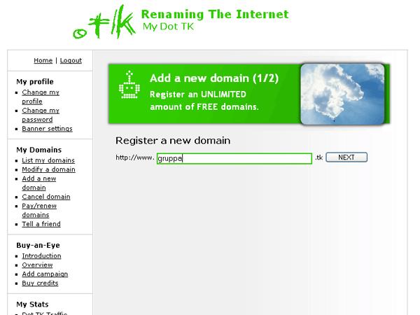 Регистрация нового домена